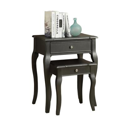 355757 2 Piece Nesting Table with 2 Drawers  Metal Knobs  Cabriole Legs  Transitional Style  Rectangular Shape and Veneer Material in Antique Black