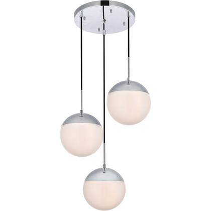 LD6070C Eclipse 3 Light 18 inch Chrome Pendant Ceiling Light With Frosted White