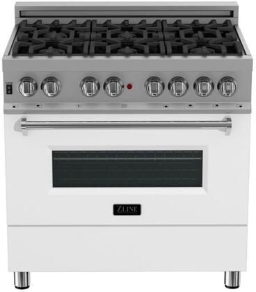 RAS-WM-36 36″ White Matte Professional Natural Gas Dual Fuel Range with 6 Italian Burners  4.6 cu. ft. Capacity Oven  Cast Iron Grates and Dual