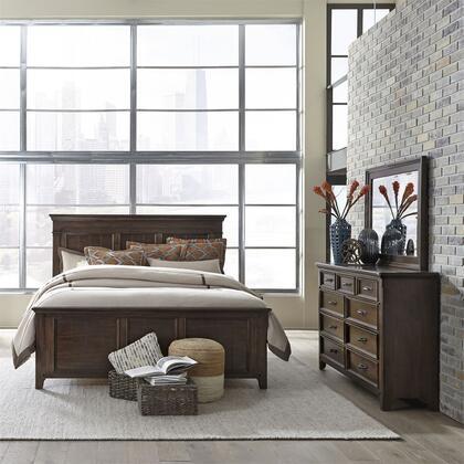 Liberty Furniture Saddlebrook 184BRKPBDM Bedroom Set Brown, 184-BR-KPBDM