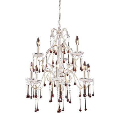 4003/6+3AMB Opulence 9-Light Chandelier in Antique White with Amber