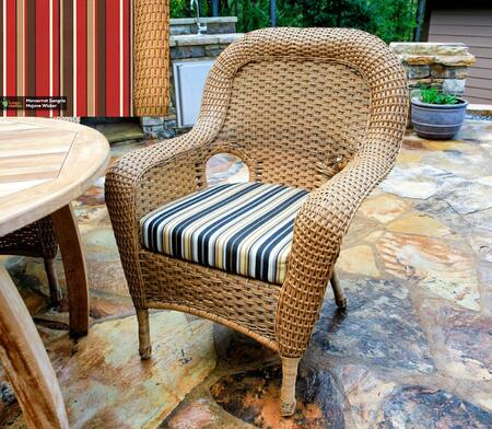 Sea Pines Collection LEX-DC-M-MONS Dining Chair in Mojave Wicker and Monserrat Sangria Fabric