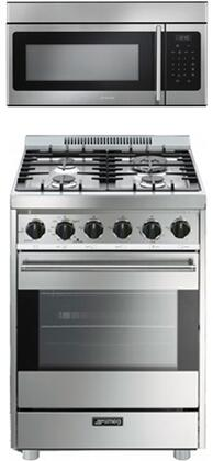 Smeg 2-Piece Kitchen Appliances Package With C24GGXU 24 Gas Freestanding Range and OTR316XU 30 Over the Range Microwave in Stainless