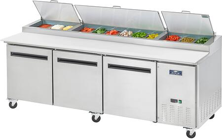 APP94R 95″ Pizza Prep Table with Electronic Thermostat  Locking Caster  32 cu. ft. Capacity and 3/4 HP in Stainless