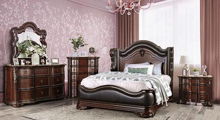 Furniture of America Arcturus CM7859QBEDNCDM Bedroom Set Brown, CM7859QB-NCDM