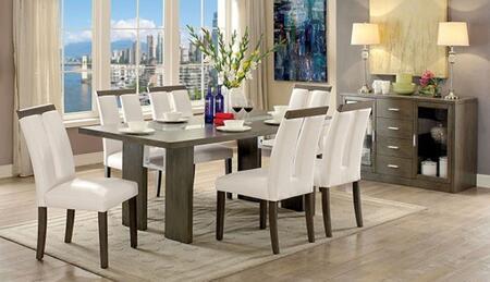 Furniture of America Luminar I CM3559GYT6SCSV Dining Room Set Gray, main image