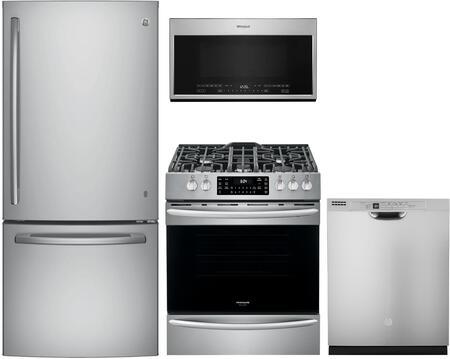 """4 Piece Ktichen Appliances Package with GDE21ESKSS 30"""" Bottom Freezer Refrigerator FGGH3047VF 30"""" Slide-in Gas Range WMH54521JZ 30"""" Over the Range"""