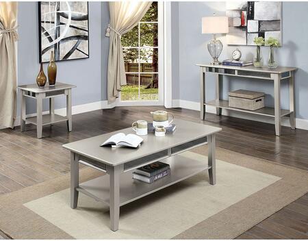 Furniture of America Celestine CM4347CSET Living Room Table Set Silver, Living Room Table Set