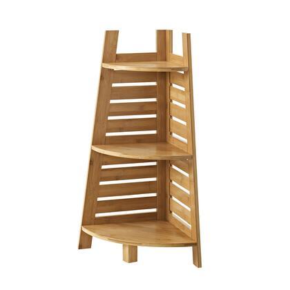 Linon Bracken 980213NAT01U Shelf, 980213NAT01U Bracken Bamboo Corner Shelf