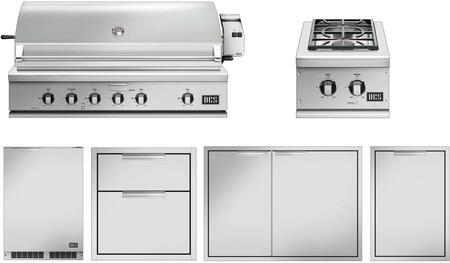 6 Piece Grill Package with 48″ Gas Grill  15″ Side Burner  42″ Access Door  20″ Storage Drawer  20″ Trash Drawer and 24″ Compact Refrigerator in