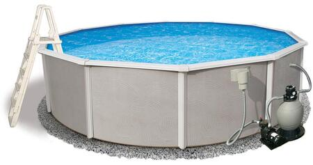 NB3034 Belize 24-Feet Round 52-Inch Deep 6-Inch Top Rail Metal Wall Swimming Pool Package with Liner  Skimmer and Return  Sand Filter  Pump and
