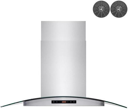RH0459 36″ Convertible Island Mount Range Hood with 350 CFM  LED Lighting  Baffle Filters  Carbon Filters  Dual Touch Controls and Glass Canopy in