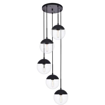 LD6075BK Eclipse 5 Light 18 inch Black Pendant Ceiling Light With Clear White