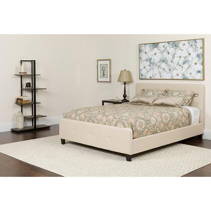 HG-BMF-19-GG Tribeca Queen Size Tufted Upholstered Platform Bed in Beige Fabric with Memory Foam
