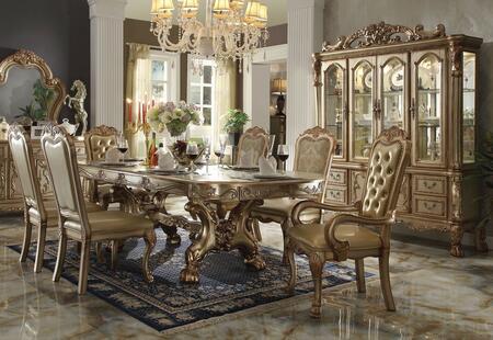 Acme Furniture Dresden 63150TCHC Dining Room Set Gold, 1