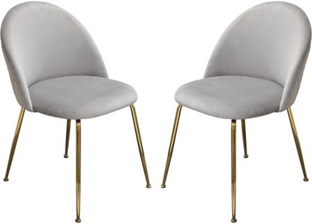 Lily Collection LILLY-DC-GR-2PK Dining Chair (Set of 2) with Velvet Upholstery  Grid Pattern  Gold Metal Legs and Contemporary Style in