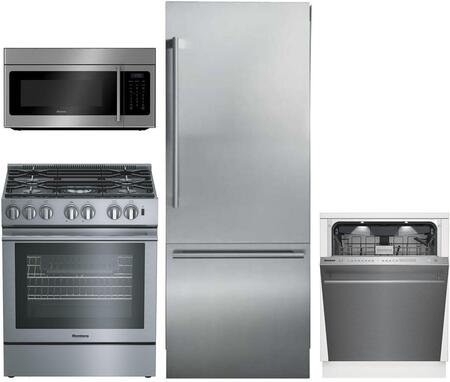 4 Piece Kitchen Appliances Package with BRFB1920SS 30″ Bottom Freezer Refrigerator  BGRP34520SS 30″ Gas Range  BOTR30200CSS 30″ Over the Range