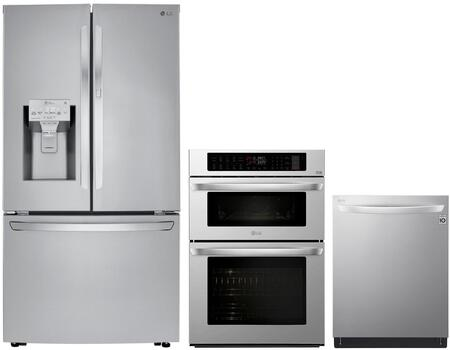 LG 1102875 3 piece Printproof Stainless Steel Kitchen Appliances Package