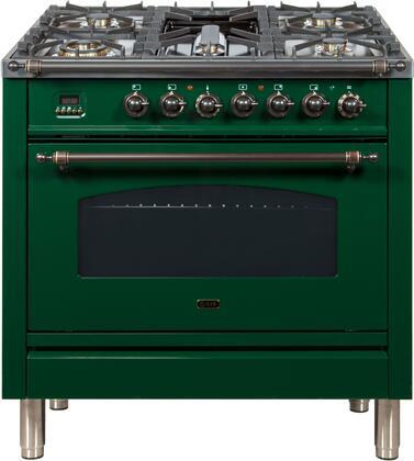 Ilve Nostalgie UPN90FDMPVSY Freestanding Dual Fuel Range Green, UPN90FDMPVSY Dual Fuel Range