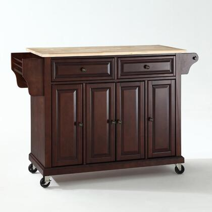 Full Size Kitchen Collection KF30001EMA Full Size Wood Top Kitchen Cart in Mahogany