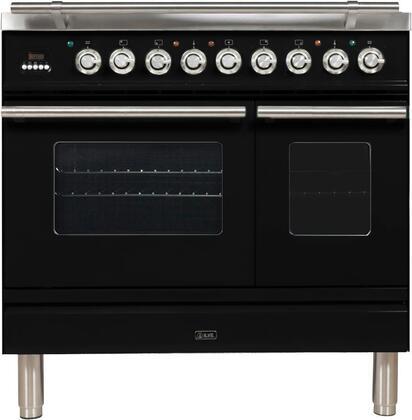 Ilve Professional Plus UPDW90FDMPN Freestanding Dual Fuel Range Black, UPDW90FDMPN Professional Plus Range