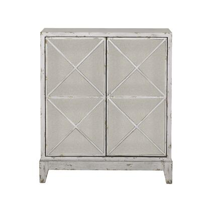 DS-D303-004 Two Door Mirrored Geometric Accent Chest in Distressed