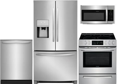 """4 Peice Kitchen Appliance Package with FFHD2250TS 36"""" French Door Refrigerator FFEH3054US 30"""" Electric Range FFMV1645TS 30"""" Over the Range"""