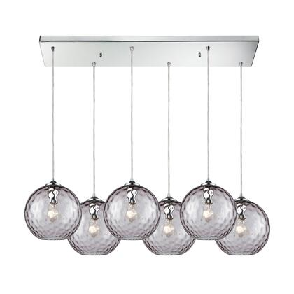 31380/6RC-PRP Watersphere 6 Light Rectangle Fixture in Polished Chrome with Purple Hammered