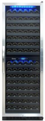 VT-155SBB 26″ Dual Zone Full Size Wine Cooler with 155 Bottle Capacity  Dynamic Cooling or Silent Mode  Sliding Ouzo Style Wine Racks  LED Interior