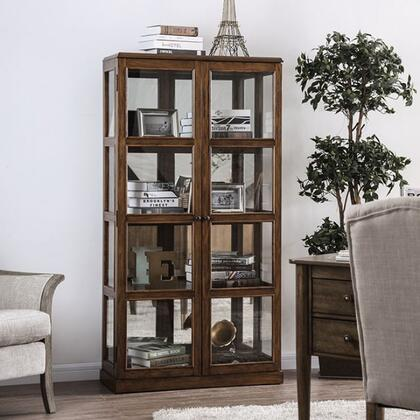 Furniture of America Vilas CMCR140A Curio Cabinet Brown, CM-CR140A Main