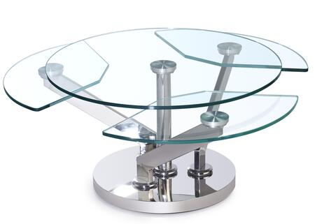8081-CT Contemporary Cocktail Table with Glass Top & Motion