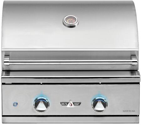 DHBQ26G-DL 26″ Liquid Propane Grill with Two Stainless Steel U-Burners  420 sq. in. Grilling Space  Warming Rack and LED Control Panel Lights in