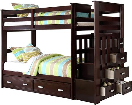 Allentown Collection 10170W Twin Size Bunk Bed in Espresso