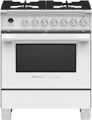 Fisher Paykel Classic OR30SCG6W1 Freestanding Dual Fuel Range White, Front view