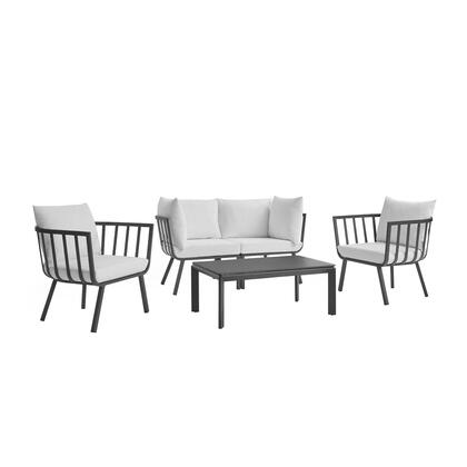 Riverside Collection EEI-3788-WHI-NAV 6 Piece Outdoor Patio Aluminum Set with Powder-Coated Aluminum Frame  All-Weather Fabric Cushions and Plush 4″