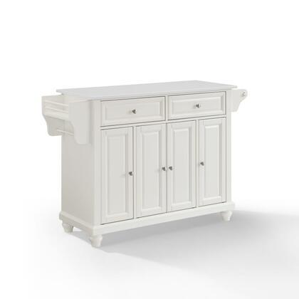 Cambridge Collection KF30005DWH Granite Top Island/Cart in White