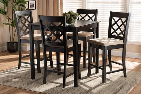 RH320P-SAND/DARKBROWN-5PCPUBSET Alora Modern and Contemporary Sand Fabric Upholstered Espresso Brown Finished 5-Piece Wood Pub