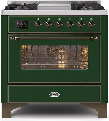 UM09FDNS3EGB 36″ Majestic II Series Dual Fuel Natural Gas Range with 6 Burners and Griddle  3.5 cu. ft. Oven Capacity  TFT Oven Control Display
