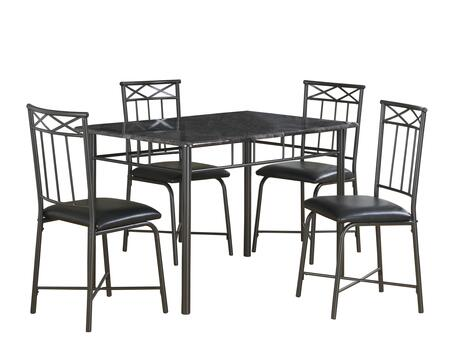 332578 5 Piece Dining Set with Foam Filled Seat Cushion  Metal Frame  Rectangular Shaped Table  Medium-Density Fiberboard (MDF) and Faux Leather