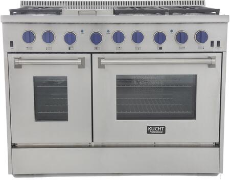 KRG4804U/LP-B 48″ Freestanding Liquid Propane Range with 4.2 cu. ft. Convection oven and 2.5 cu. ft. Secondary Oven  6 Burners  Griddle  Blue