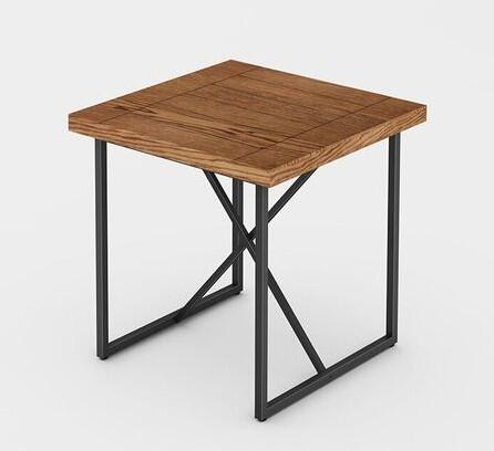 Signature Home Collection FT24IETHO X-End Table with Textured  Powder Coated Metal Frame  Thick MDF Top and Easy Assembly in