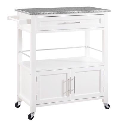 Linon Cameron 464809WHT01U Kitchen Cart, 464809WHT01U Camerion White Kitchen Cart with Granite Top