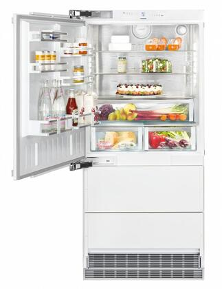 36″ Bottom Freezer Refrigerator with 80″ Height Door Panels and Tubular Handles in Stainless