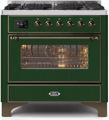 Ilve Majestic II UM096DNS3EGB Freestanding Dual Fuel Range Green, UM096DNS3EGBNG-	Front-CD-A