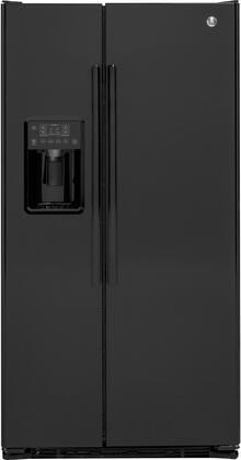 GE  GZS22DGJBB Side-By-Side Refrigerator Black, Main Image