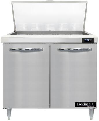 Continental Refrigerator Designer Line D36N15M Prep Refrigerator Stainless Steel, D36N15M Mighty Top Sandwich Unit Refrigerator