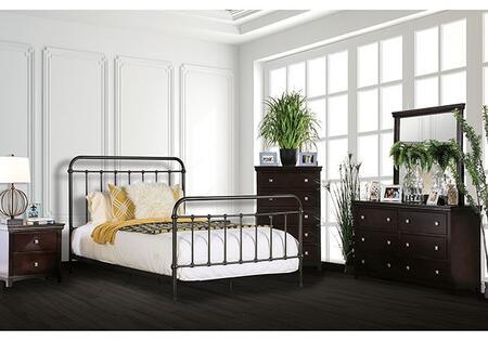 Furniture of America Iria CM7701GMEKDMNC5PC Bedroom Set Brown, Main Image