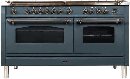 Ilve Nostalgie UPN150FDMPGUYLP Freestanding Dual Fuel Range Blue Grey, Blue Grey Dual Fuel Range