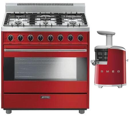 Smeg 891091 2 piece Red Kitchen Appliances Package