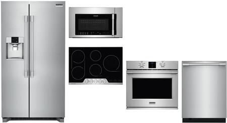 5 Piece Kitchen Appliances Package with 36″ Side by Side Refrigerator  30″  Electric Single Wall Convection Oven  30″ Electric Cooktop  30″ Over the